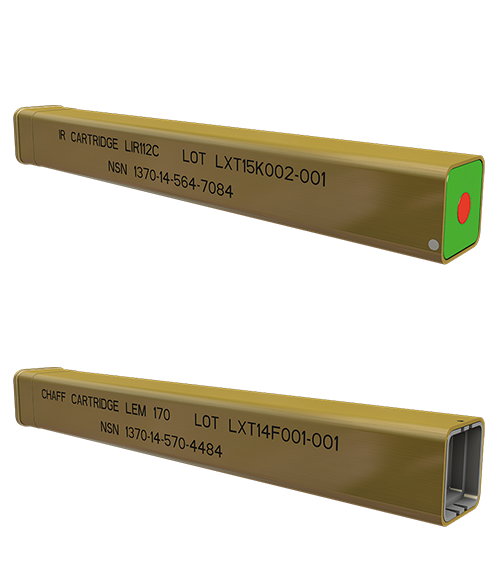 Lacroix Defense Helicopters Countermeasures Kinematic range cartridges, Chaff